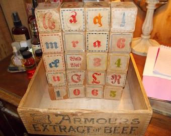 c-vintage german wood alphabet blocks