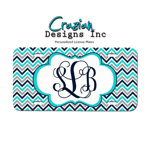 Monogram Front License plate - Navy Teal Chevron License Plate ...