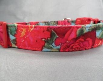 Blue bright Rose Dog Collar