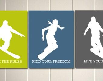 Boys room art, snowboard art,sports art, snowboarding, teen boy wall art, dorm room art, inspirational art for boys, Set of 3 prints
