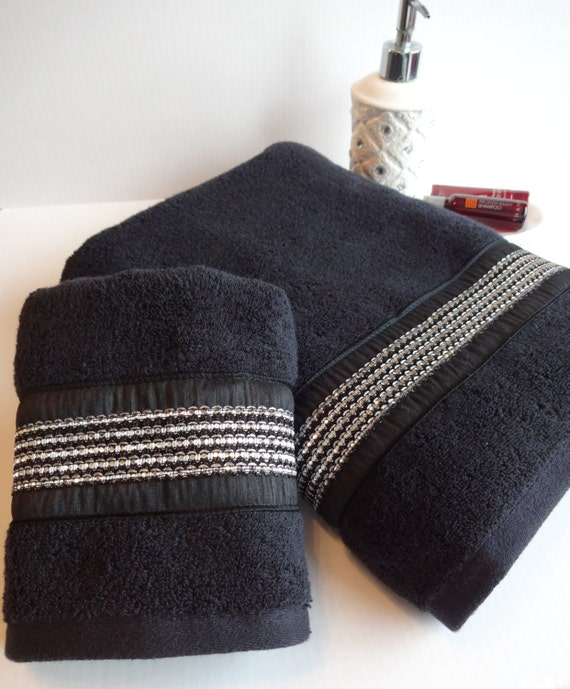 Black and silver rhinestone towels black towel bath for Black bling bathroom accessories