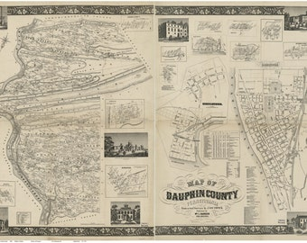 Dauphin County Pennsylvania 1858 - Old Wall Map with Homeowner Names - Genealogy - Reprint