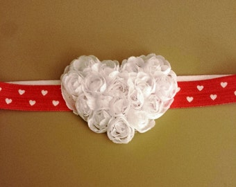Red and White Headband Heart