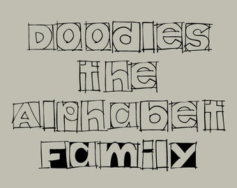 Hand Drawn Doodles the Alphabet Family