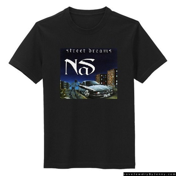 Custom nas street dreams single album cover hip hop t shirt for Custom single t shirts