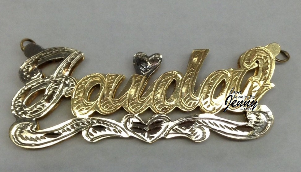 14K Gold Overlay 3D Double Plate Name NECKLACE/free Name Plate Earrings