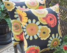 """Set of 2 - 20"""" Indoor / Outdoor Crosby Black Red Blue Green Yellow Contemporary Crosby Floral Geometric Decorative Throw Pillows"""