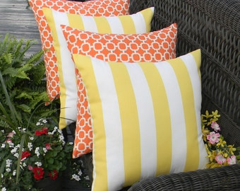 "Set of 4 - 17"" x 17"" Indoor / Outdoor Mandarin Orange and White Hockley Pattern and Yellow & White Chevron Decorative Throw Pillows"