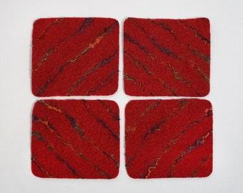 Wine Red Wet Felted Coasters, reversible, wool, silk