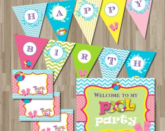 Instant Download Pool Party Birthday Invitation Pack. DIY. Digital Printable