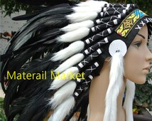 Indian style headdress black feather headdress 21 inch full high indian style war bonnet feather hat american costumes