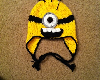 Crocheted adult-sized Minion-inspired Hat