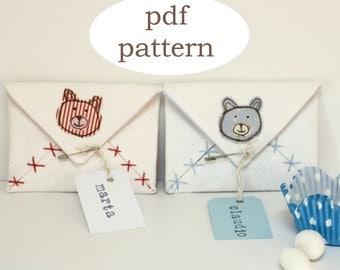 PDF pattern fabric envelope  - sewing pattern envelope - tiny envelope for sugar amonds pattern - sewing pattern envelope- fabric envelope