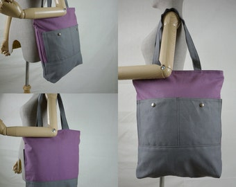 SALE - Hip Boho Dusty Purple & Grey Cotton Canvas Women Bag Handbag Tote/ Shoulder Bag/ Crossbody Bag/Travel Bag/Everyday Bag - B023