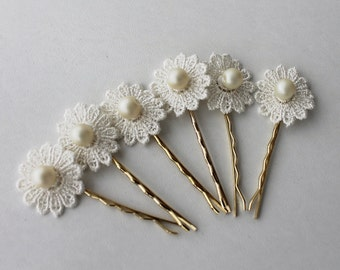 flower hair clips, wedding accessories, bridal flowers, Set of 6
