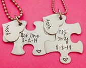 Her One His Only Hand Stamped Puzzle Piece His and Hers Necklaces Set with Heart Charm