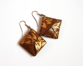 Brown and Gold Origami Square Earrings - Paper Earrings