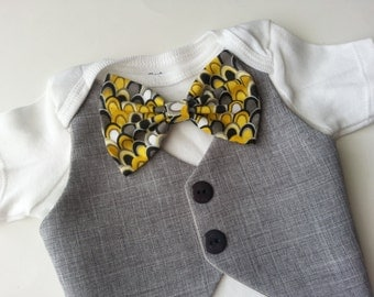 Baby Boy Onesie With Vest Attached And Yellow, Grey, Black, White Bow.