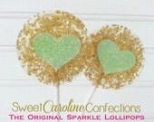 Mint and Gold Lollipops, Mint to Be Lollipops, Wedding Lollipops, Green Favors, Sweet Caroline Confections-Set of Six