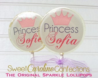 Princess Lollipops, Light Purple Favors, Candy, Party Favors, Sparkle Lollipops, Pink Lollipops, Little Girl Party, SIX LOLLIPOPS