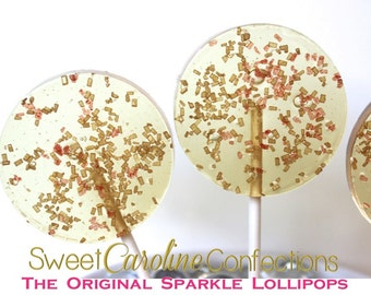 As Seen In Brides Magazine-Wedding Favors, GOLD AND RED, Hard Candy Lollipops, Party Favors, Candy, Sweet Caroline Confections-Set of 6