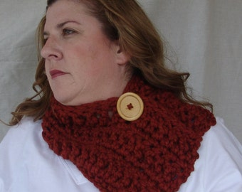 Chunky Crochet Short Cowl Scarf with Big Wood Button - Lambs Wool