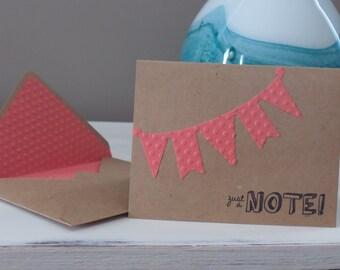 Notecard, bunting, hello, blank card