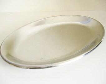 Skara Stainless Steel Platter Swedish Modern Vintage Mid Century Made in Sweden 1960's Oval Antique Wedding Shower Gift