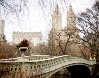 Central Park Bow Bridge Photograph - Historic Architecture - Winter - Romantic Bridge - Wall decor - New York City - The San Remo Towers