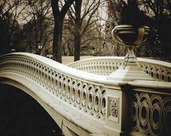 Bridge At Central Park - Bow Bridge - Winter Tones - Central Park Photography - Wall Art Decor - Landscape - New York Photograph -