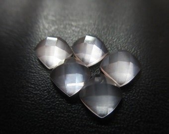 6X6 mm Natural Rose Quartz Cushion Rose cut 5 pcs set