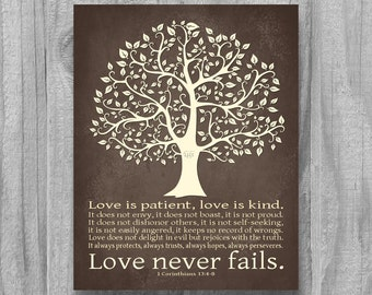 SALE Love Never Fails Personalized Wedding Gift Tree Art Print  Anniversary 1 Corinthians 13 4 8 Home Decor Housewarming Couples Initials