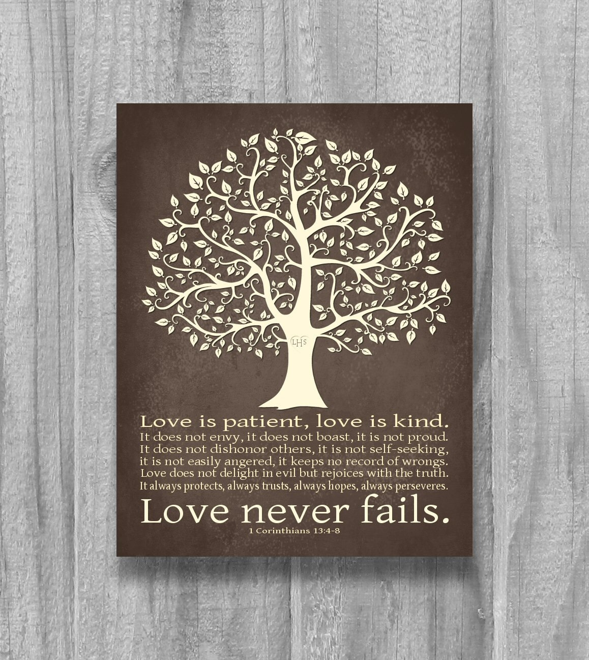 One Of A Kind Wedding Gifts: Personalized Love Never Fails Tree Art Print Wedding Gift