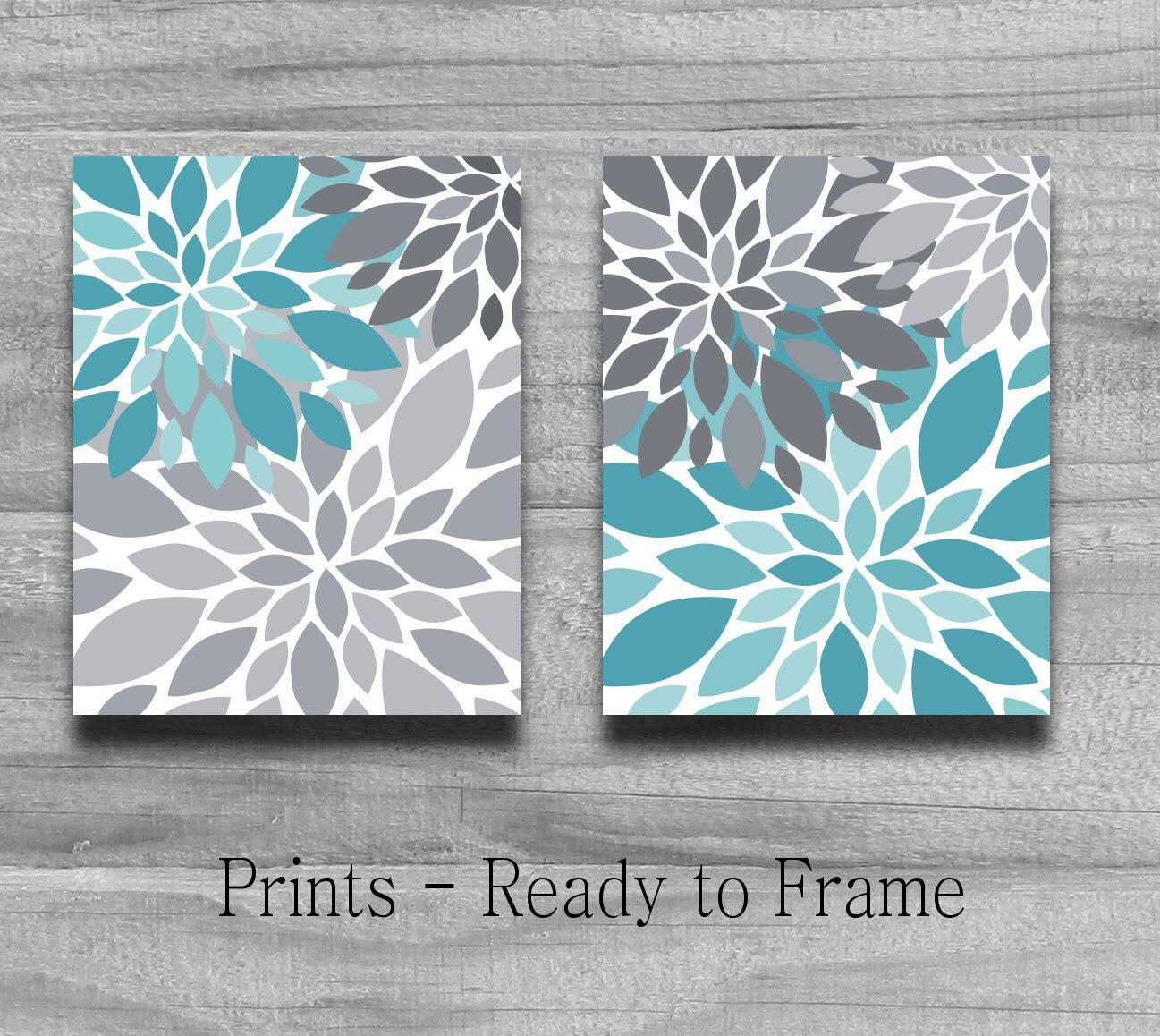 Light Blue Bathroom Wall Art Canvas Or Prints Blue Bedroom: Turquoise Gray Flower Burst Print Set Home By