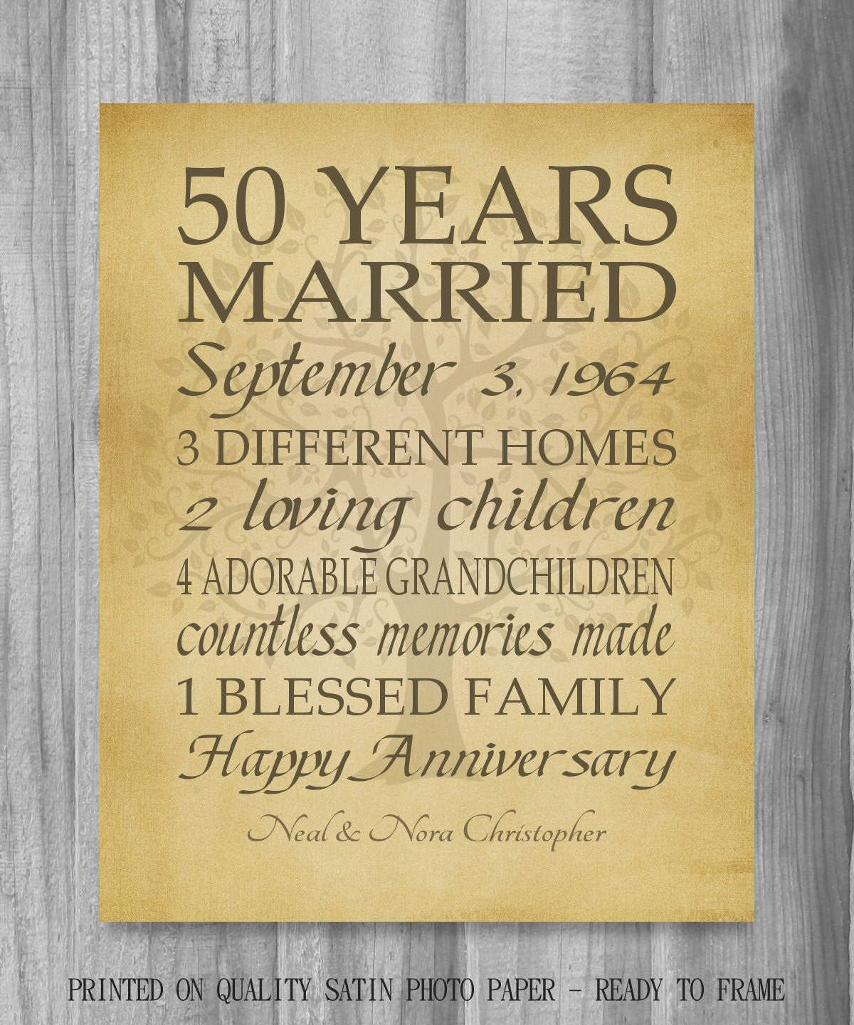 Wedding Anniversary Gifts By Year: 50th Anniversary Gift Golden Anniversary 50 Years Personalized