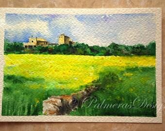 SPRING. Original watercolor painting.