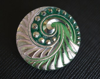 Hand Made Art Czech Glass Button Green-Pink Combined - Silver size 12, 27mm 1 pc (BUT204/12)