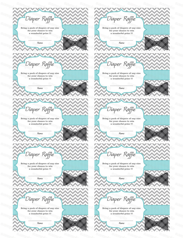 bow tie baby shower diaper raffle ticket diaper wipe raffle