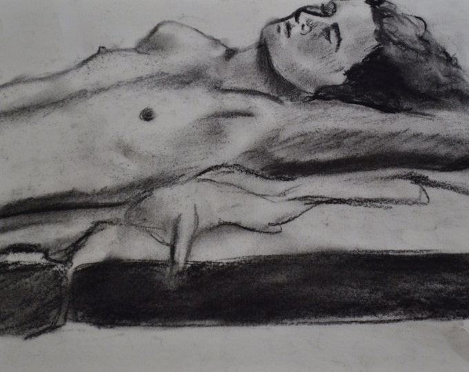 "Drawing | Original Art | Original Drawing | Charcoal | Handmade Drawing | Original Art | Black and White | 8.5""x11"" Drawing ""Sleeping Man"""