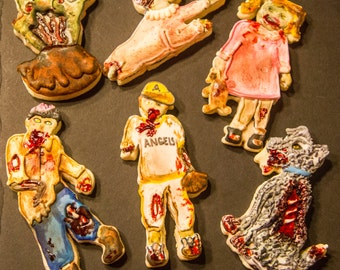 One dozen dimensional hand painted zombie cookies
