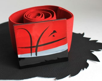 Red Black Gray Elastic Belt size 31 inches