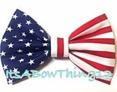 American Flag Classic Navy Stars with Red and White Stripes Preppy Fabric Printed Bow