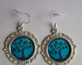 tree of life earrings cabochon