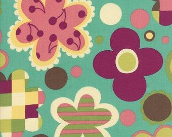 SALE Avant Garden Geometric Blossoms in Aqua Skies by Momo for Moda Fabrics