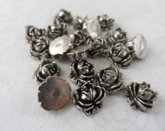 "Metalized acrylic 3D silver roses,3/8th"",20pcs-KC359"