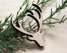 Deer wood or acrylic brooch. Stag little bambi