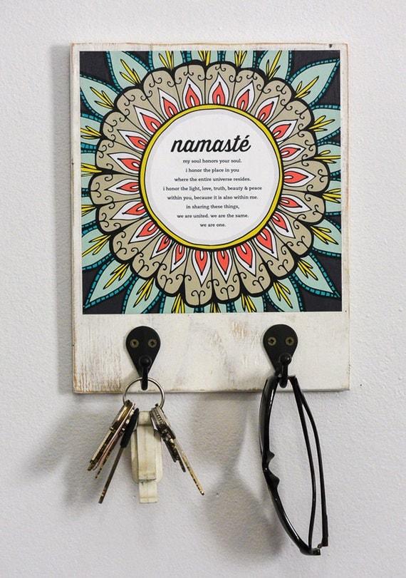 "Namaste Art Print with Hooks, 8"" x 10"", Wall Organizer, Entryway, Birthday Gift,"
