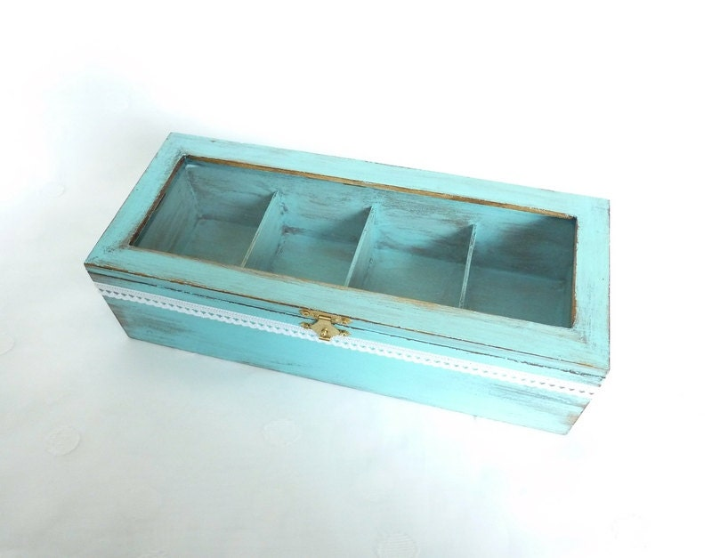 t rkis box mit f chern tee box schmuckschatulle. Black Bedroom Furniture Sets. Home Design Ideas
