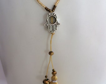 Silver Hamsa Hand > Gold Beads>Tassel Necklace>Boho>trends>summer>winter>fun>great value>perfect Gift Idea>reduced price