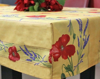 FITTED  Square or Small Rectangular Waterproof Provence Poppies Tablecloth  Custom made your size- Umbrella Hole available